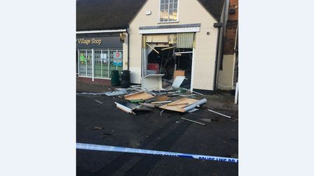 Thieves have ram raided the East of England Co-op store in Long Melford, ripping a cash machine out