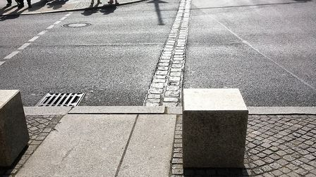 The route of the Berlin Wall has been built into streets. Picture PAUL GEATER