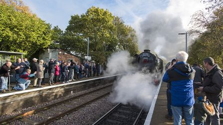 The world famous locomotive the Flying Scotsman steams into Westerfield Station just outside Ipswich