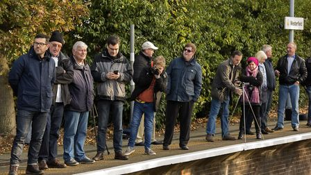 People arrived early to see the Flying Scotsman pull into Westerfield Station. PICTURE BY ASHLEY PI