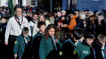 A packed Angel Hill in Bury St Edmunds for the annual Remembrance Sunday service and wreath laying.