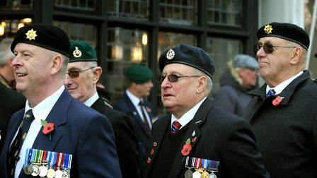 The Sudbury Remembrance Sunday parade leaves the Market Hill. Picture:ANDY ABBOTT