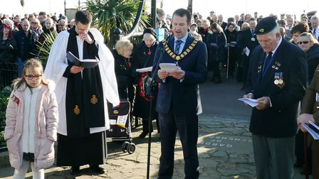 Chairman of Tendring DIstrict Council, Mark Platt, says a few words at the Remembrance Day service.
