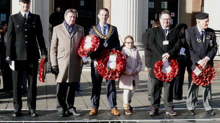 Wreaths were laid at Clacton's War Memorial as part of the Remembrance Day service . Picture: NIGEL