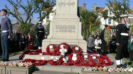 Thousands paid their respects at Clacton's War Memorial on Sunday. Picture: NIGEL BROWN