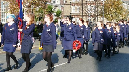 Clacton Girls Brigade march through the town. Picture: NIGEL BROWN