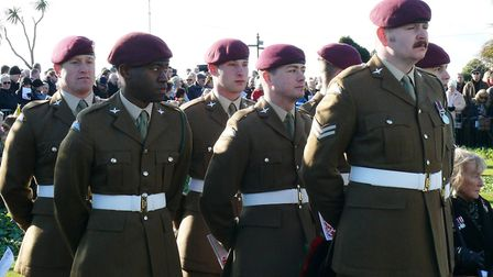 Soldiers from 3 Parachute Regimen pay their respects in Clacton. Picture: NIGEL BROWN