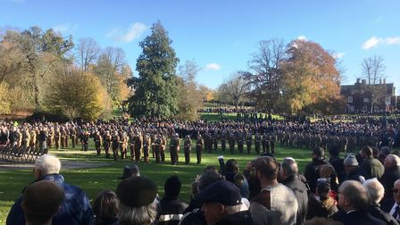 Thousands of people turned up for the Ipswich Remembrance service at Christchurch Park. Picture: PAU