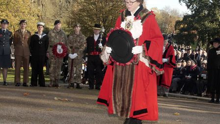 Ipswich Mayor, Sarah Barber, lays her wreath at the Ipswich Cenotaph. Picture:NIGE BROWN.