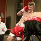 Billy Bird on his way to taking the vacant British Masters super-middleweight title in his fight aga