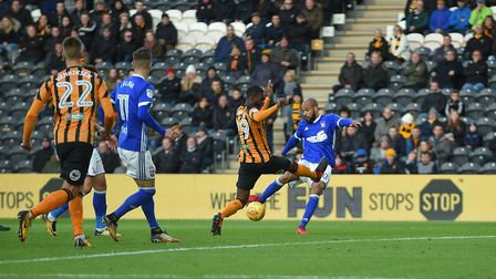 David McGoldrick scores during the first half for Ipswich at Hull Picture Pagepix