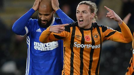 David McGoldrick holds his head after having a second half penalty saved at Hull Picture Pagepix