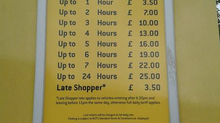 Charges for the NCP Tower Ramparts car park. Picture: ARCHANT