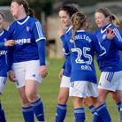 Ipswich Town Ladies development celebrate during their 14-0 win in the cup. Picture: ROSS HALLS