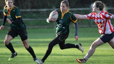 Lucy Kerr on the run for Bury Foxes. Picture: SHAWN PEARCE