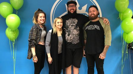 Molly Garnham, second left, hosted a fundraising day at tattoo studio Rough Diamond in Stowmarket fo