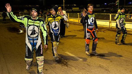 INTERACTION: Ipswich Witches riders on a lap of honour walking the track. Speedway needs to get fans