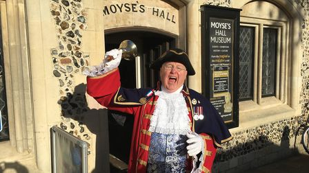 Mike Wabe, Thetford town crier, who was in Bury St Edmunds on Saturday. Picture: MICHAEL STEWARD