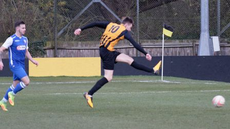 Stow's Josh Mayhew cracks in the leveller against Coggeshall. Picture: PAUL VOLLER