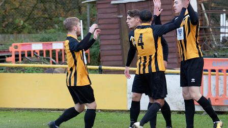 Josh Mayhew celebrates scoring his 30th goal of the season for Stowmarket. Picture: PAUL VOLLER