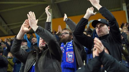 Ipswich Town fans seemed content with a point at Hull. Photo: Pagepix