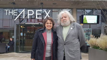 Anne Marie David and Jean Musy outside the Apex, in Bury St Edmunds