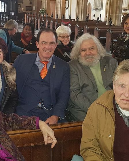 Anne Marie David and Jean Musy in St Mary's Church, Bury St Edmunds, with friends and supporters of