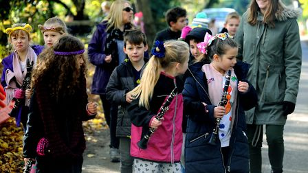 Stroll in the park: The whole school, staff and parents from Wells Hall Primary School in Great Corn