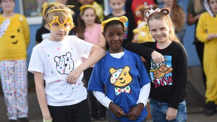 Hillside Primary School raising money for Children in Need. Left to right, Leo, Christian and Leah.