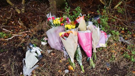 Flowers have been left at the scene of the crash on at A1075 near Thetford. Picture: SONYA DUNCAN
