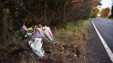Flowers have been left at the scene of the crash on the A1075 near Thetford. Picture: SONYA DUNCAN