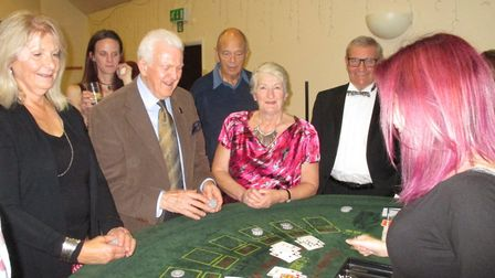 Making money in aid of charity at a special gambling evening at the Cedars Hotel, in Stowmarket.