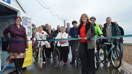 The launch of the 12-month trial of cycling on the prom at Felixstowe last autumn - cycling is now s