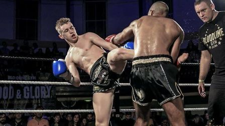 Joe Le Maire lands a kick in his fight with Ash Uddin at Blood and Glory. Picture: NATALIA RAKOWSKA