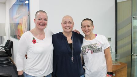Jude Rouse, Beth Manister and Celia Petersen have all braved the shave. Picture MSC