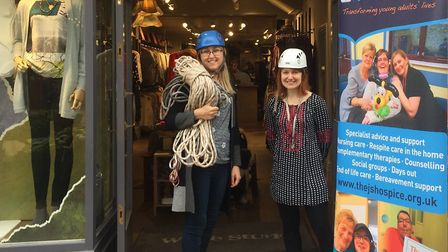 Nic Dines and Helen Daw from White Stuff in Colchester are ready to abseil for charity. Picture: THE