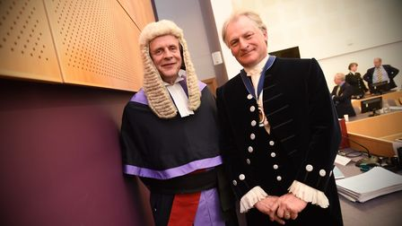 The new High Sheriff being sworn in at Ipswich Crown Court. From left to right, Judge David Goodin a