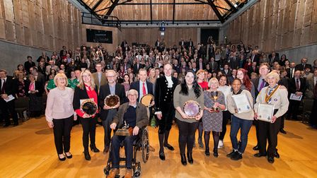 Volunteers with their trophies at the High Sheriff Awards 2017. Picture: SIMON LEE PHOTOGRAPHY