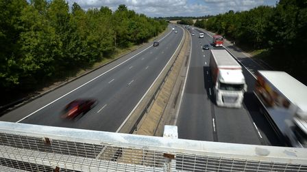 The M11 as seen from Goose Lane bridge, which was closed for investigations after Andrew Brett's dea