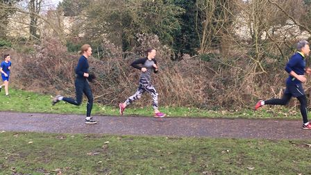 Runners at the Thetford Parkrun, with the remains of the Thetford Priory in the background. Picture: