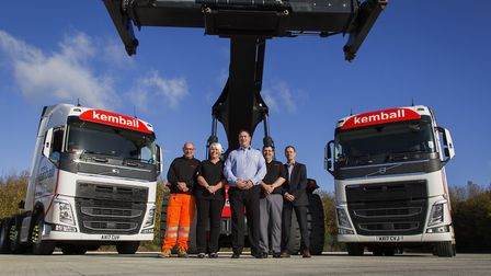 Depot manager Andy Tattersall (centre) and general manager Jimmy Russell (far right) with the Jame