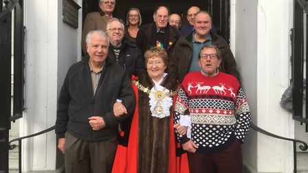 Then Sudbury mayor Sue Ayres with some of the recipients of the Christmas gift of a coat from Sudbur