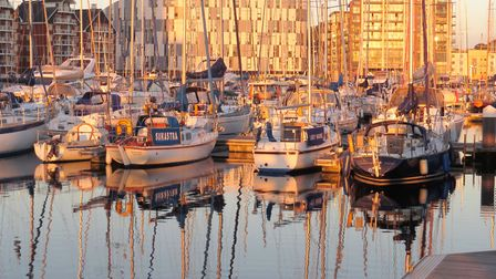 Reflections of the boats as the sun sets. Picture: JANICE POULSON