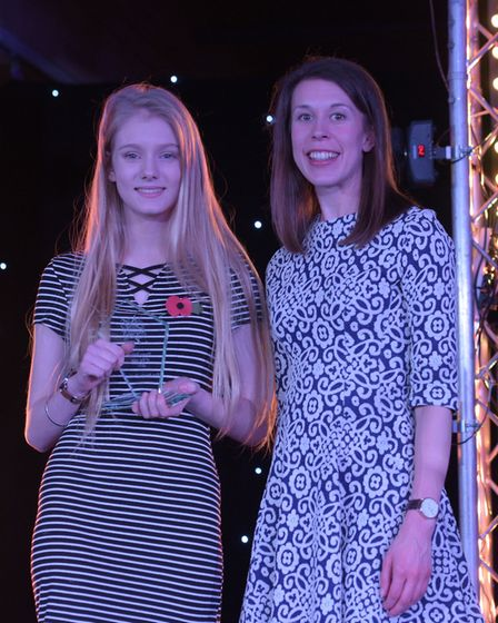 Young Person of the Year Eve Brooks-Parkin receiving her award. Picture: SARAH LUCY BROWN