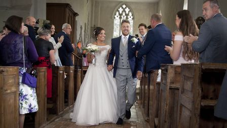 Shaun Whiter walking down the aisle on his wedding day. Picture: THOMAS ELLWOOD PHOTOGRAPHY