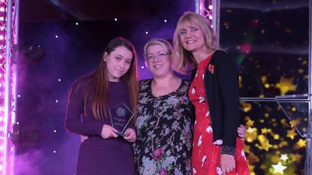 Carer of the Year Elysha Young receiving her award. Picture: SARAH LUCY BROWN