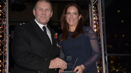 Brian Hawes receiving his Fire Service Person of the Year Award. Picture: SARAH LUCY BROWN