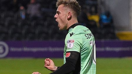 Sammie Szmodics celebrates scoring the winner at Barnet during Saturday's 1-0 win. Picture: PAGEPIX