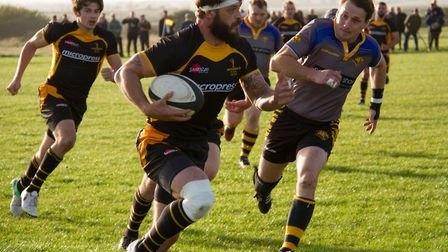 Joe Block attacks for Southwold. Picture: LINDA CAYLEY