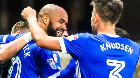 Town's David McGoldrick celebrates with Jonas Knudsen after scoring Town's second in the 3-0 over Pr